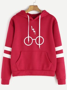 Harry Potter Hooded Sweatshirt with Glasses and Lightning Scar Print