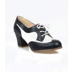 b.a.i.t. 1940s Style Black & White Faux Leather Spectator Remmy Oxford... ($61) ❤ liked on Polyvore featuring shoes, black, black shoes, black oxford shoes, black and white oxfords, wingtip oxford shoes and black oxfords