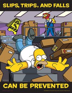 Simpsons safety posters can really come in handy while at work HQ photos) Health And Safety Poster, Safety Posters, Office Safety, Workplace Safety, Safety Fail, Safety Tips, Safety Work, Running Cartoon, Safety Slogans