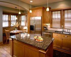 New Kitchen Paint Colors Brown Granite Countertops Ideas Honey Oak Cabinets, Oak Kitchen Cabinets, Kitchen Redo, Wood Cabinets, Kitchen Flooring, Kitchen Countertops, New Kitchen, Kitchen Backsplash, Kitchen Ideas
