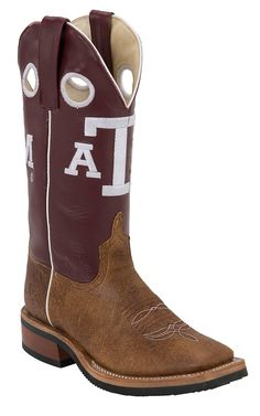 Anderson Bean® Youth Brown w/ Maroon Top A Double Welt Square Toe Western Boots | Cavender's Boot City