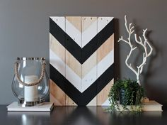 Black and white Chevron Arrow Tribal reclaimed wood wall art