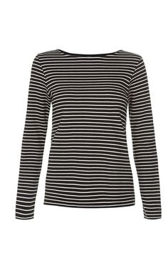 Black striped jersey top in 100% organic Fairtrade certified cotton. Medium weight jersey with long sleeves. Also available in burgundy. Length 62cm.