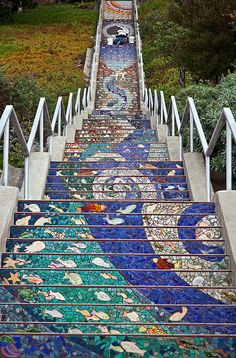 San Francisco: The 16th Avenue Tiled Steps//photo by Martin Taylor//Artists Aileen Barr and Colette Crutcher created the mosaic design (http://www.tiledsteps.org/)