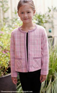 Burda 4/2015 #137 girls Chanel style pink jacket www.loweryourpresserfoot.blogspot.com