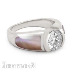 """""""Moonlit Petal - Fortune"""" One Carat Diamond Pink Mother of Pearl Engagement Ring 
