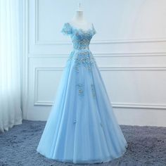 Prom Dresses Long Blue Evening Dresses Foral Tulle Dress Women Formal Party Gown Fashionable · lass · Online Store Powered by Storenvy Cute Prom Dresses, Ball Dresses, Pretty Dresses, Beautiful Dresses, Ball Gowns, Bridesmaid Dresses, Formal Dresses, Long Formal Gowns, Dress Prom