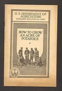 1927 US Department of Agriculture Farmers Bulletin No 1190 Grow Acres Potatoes - Advintage Plus