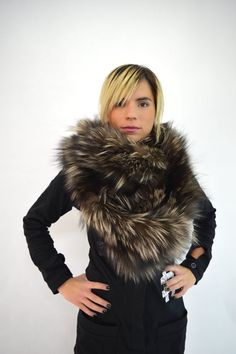 Real fox fur scarf real fur collar infinity wrap scarf by BeFur