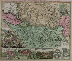 18th century map and chart about The War in Hungary / Serbia by Johann Baptist HOMANN 1720