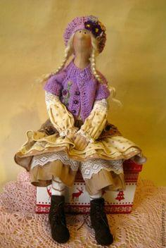 Купить Тильдуся - фиолетовый, тильда, тильда кукла, кукла, интерьерная игрушка, кукла в подарок, подарок