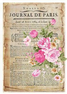 Vintage French journal with pink roses Vintage Labels, Vintage Ephemera, Vintage Cards, Vintage Paper, Vintage Postcards, Decoupage Vintage, Floral Vintage, Vintage Flowers, Images Vintage
