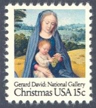 """1979_10_18 $.15 This traditional Christmas stamp features a painting by Gerard David titled """"Virgin and Child."""" The painting is held in the National Gallery of Art, Washington, D.C."""