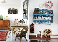 Um pouco da cozinha da blogueira, que tem muitos detalhes espalhados, como os pratos com desenhos retrô (Foto: Divulgação/Katy Orme)