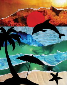 Use these free printable silhouettes placed over a torn paper collage to make a summer beach scene. The ImaginationBox Blog, creative art projects and printables at your fingertips - The Imagination Box