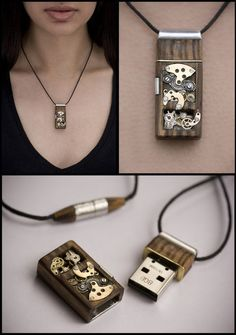Steampunk USB drive necklace.
