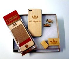 Adidas Originals - wood carved  iPhone cover, USB stick and lace locks.