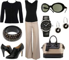 Classic work outfit, minus the hideous shoes, the sunglasses, earrings and possibly the bag lol
