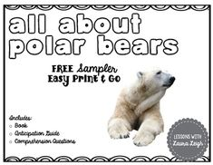 FREE Polar Bears Instant Reading Lesson by Lessons with Laura Leigh Nonfiction Activities, Post Reading Activities, Guided Reading Groups, Reading Lessons, Reading Strategies, Polar Bear Facts, Penguins And Polar Bears, Artic Animals, Mini Books