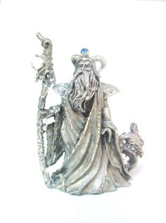 MINIATURE PEWTER SPOONTIQUES JEWELED WIZARD WITH A WINGED DRAGON