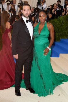 Serena Williams in Versace and Alexis Ohanian