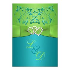 Shop Turquoise, Lime Floral Joined Hearts Invitation 2 created by NiteOwlStudio. Glitter Wedding Invitations, Custom Invitations, Invites, Wedding Cards, Our Wedding, Destination Wedding, Wedding Ideas, Wedding Inspiration, Celtic Wedding