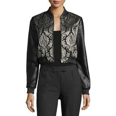 Lamarque Redell Metallic-Embroidered Leather Bomber Jacket (£145) ❤ liked on Polyvore featuring outerwear, jackets, black, real leather bomber jacket, embroidered bomber jacket, metallic leather jackets, cropped leather jacket and cropped bomber jacket