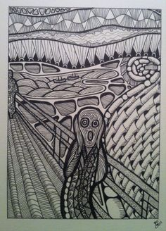 Edvard Munch's The Scream interpreted through zentangling. (C) greg cormier 2015 #zen #tangle #zentangle #zentangling #Munch #scream