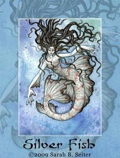 Sarah B. Seiter - watercolor & colored pencils - Do not use without permission This ACEO Original is for sale. Spiderwick, Mermaid Artwork, Sarah B, Great Fear, Merfolk, Sea Creatures, Colored Pencils, Angel, Mermaids