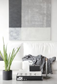 Shades of grey, living room, stylizimo house, painting by Nina Holst