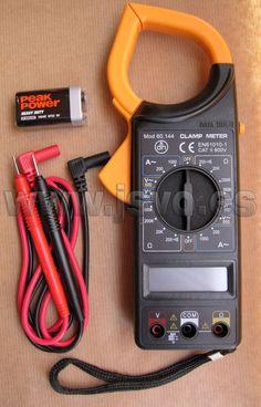 Multímetro digital con pinza amperimétrica Electro DH Mod.: 60.144 con pantalla LCD, puntas de prueba y protección de sobrecargas. www.jsvo.es