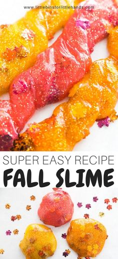 A super easy to make colorful leaves fall slime recipe for kids! Perfect for fall science, Thanksgiving science, or fall STEM with our homemade fall slime recipe. Making slime is a snap with any of our slime recipes. This colorful slime is perfect for a quick fall activity or leaf activity that is both science and sensory play in one!