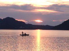 Fischer am Fuschlsee , sunset at Fuschlsee , Austria