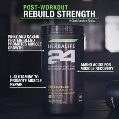 Rebuild Strength delivers protein as amino acids and carbohydrates to spike insulin levels, allowing the amino acids to enter the muscle for optimal recovery. Herbalife 24, Herbalife Quotes, Herbalife Motivation, Herbalife Shake Recipes, Herbalife Distributor, Herbalife Nutrition, Herbalife Products, Post Workout Shake, Casein Protein