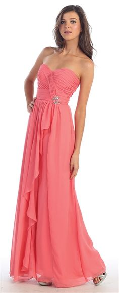 Make heads turn in this stunning long bridesmaid dress from marlasfashions.com. It comes in black, champagne, coral, ivory, red, purple, royal blue, silver, teal, and white. The sizes range from 4 to 26