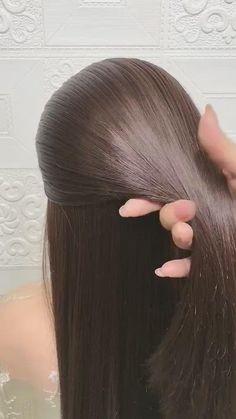 Hairdo For Long Hair, Long Hair Video, Bun Hairstyles For Long Hair, Front Hair Styles, Medium Hair Styles, Simple Hairstyles For Girls, Hair Style Vedio, Hair Upstyles, Hair Videos