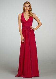 A-line Draped V-neck Long Bridesmaid Dress