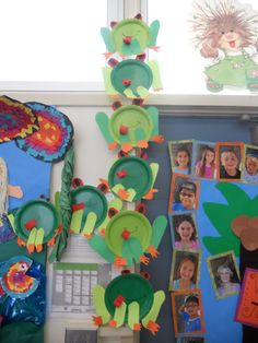 Paper plate frog craft for Spring unit.