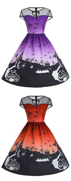 vintage dresses for women:Halloween Mesh Insert Vintage A Line Dress