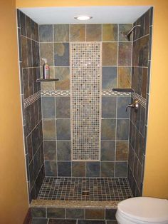 Tile shower. Maybe not the same tile as the floor though....looks weird to me.