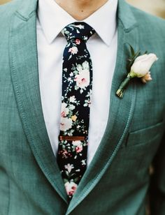 Mixing up Traditions: A Vibrant Indian Wedding With a Hip + Rustic Reception - Green Wedding Shoes - floral tie with green suit - Groom Attire, Groom And Groomsmen, Wedding Groom, Wedding Attire, Mens Wedding Ties, Costume Vert, What A Nice Day, Hipster Wedding, Green Suit