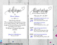 Wedding Welcome Note AndOr Wedding Itinerary AndOr Info Things
