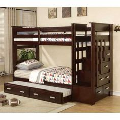 Acme Allentown Espresso Twin Bunk Bed with Storage Stairway Drawers and Trundle