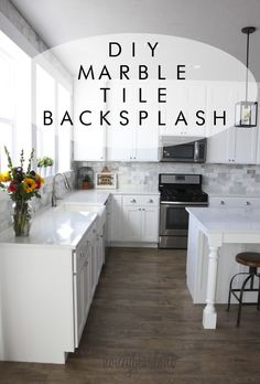 See how she took her kitchen from drab to fab with with this marble tile backsplash!