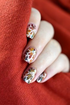 Autumn leaves nail art tutorial with Bundle Monster Mythos collection and What's Up Nails B021 plate.