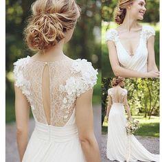 2017 Beach Appliqued V-neck Country Bridal Gown Wedding Dresses,AB0220
