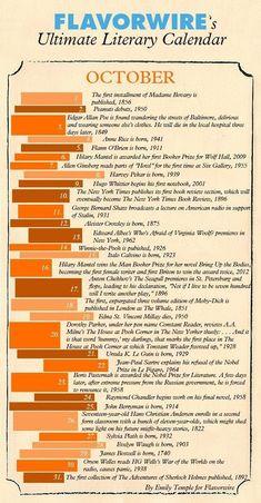 Literary Calendar for October