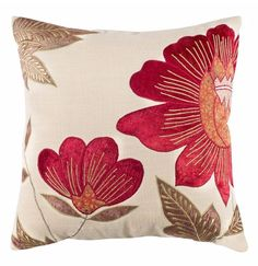 This floral-patterned ivory and burgundy throw pillow will make an elegant addition to your living room. Featuring a subtle yet rich color palette of ivory, brown and burgundy, its timeless transitional look adds just the right touch of drama.