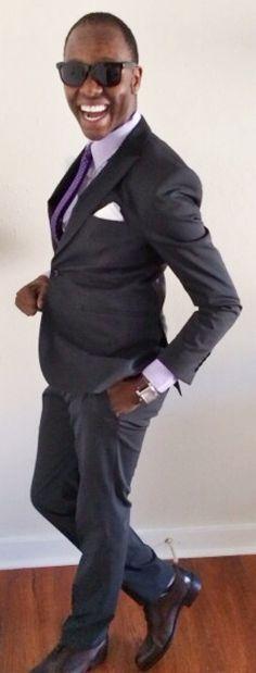 """The pleasures ---            ---that came after me?""   Suit - @Theory__  Stripped Shirt - @Jcrew  Silk Polka Dot Tie - @HM  Flower Lapel - @HookAndAlbert  Pocket Square - @CalvinKlein  Leather Belt - @BananaRepublic  Cap Toe Oxfords @Ferragamo   Time Piece - @Tissot_Official"