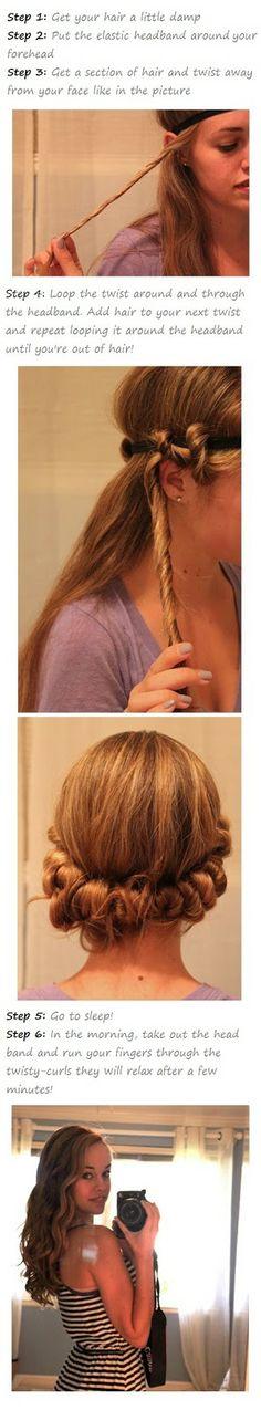 Pinstrosity: No Heat Curls...twist damp hair and sleep on it!